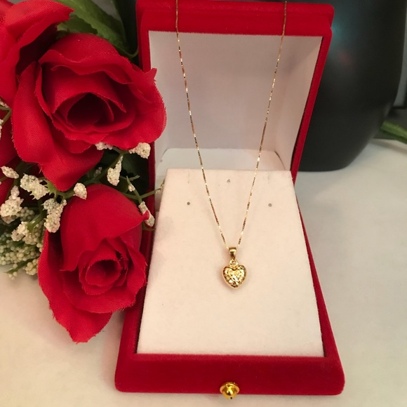 Jewelry 18k Real Saudi Gold Heart Necklace Poshmark